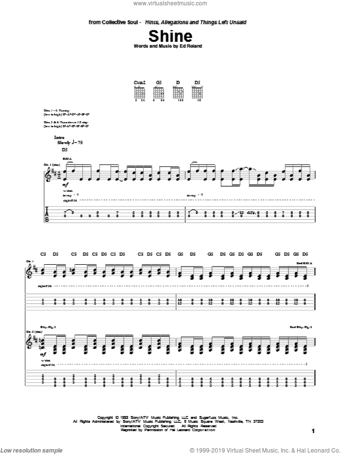 Shine sheet music for guitar (tablature) by Collective Soul and Ed Roland, intermediate