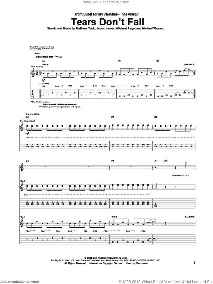 Tears Don't Fall sheet music for guitar (tablature) by Bullet For My Valentine, intermediate guitar (tablature). Score Image Preview.