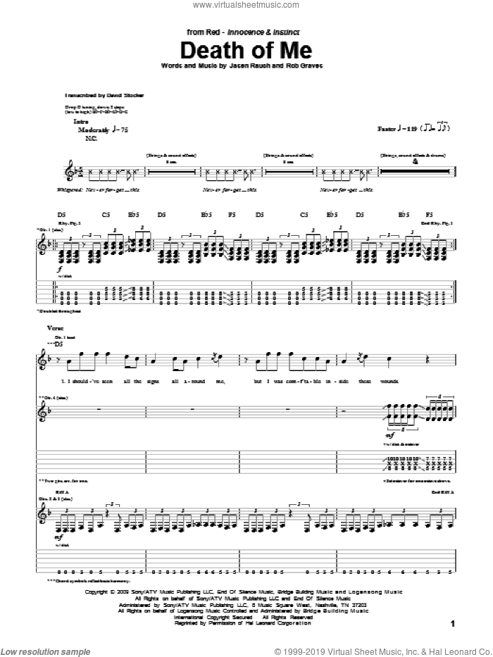 Death Of Me sheet music for guitar (tablature) by RED, intermediate
