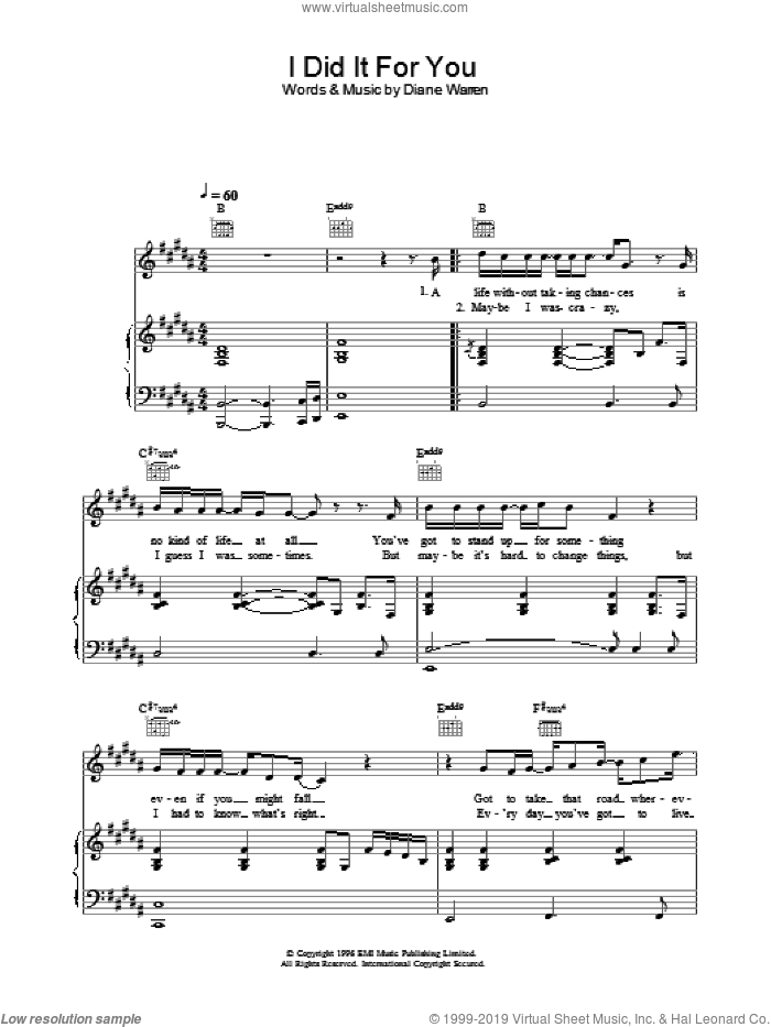 I Did It For You sheet music for voice, piano or guitar by Westlife, intermediate skill level