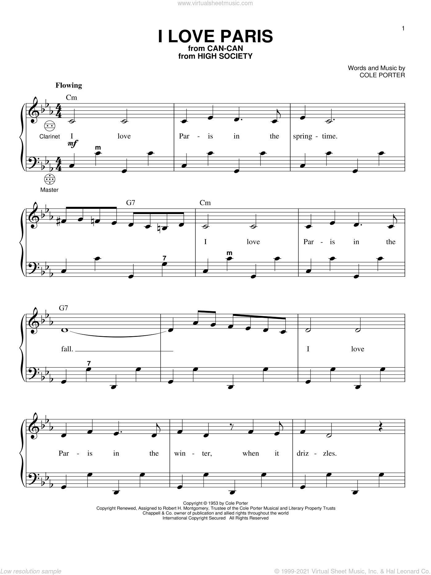 I Love Paris sheet music for accordion by Gary Meisner and Cole Porter, intermediate skill level
