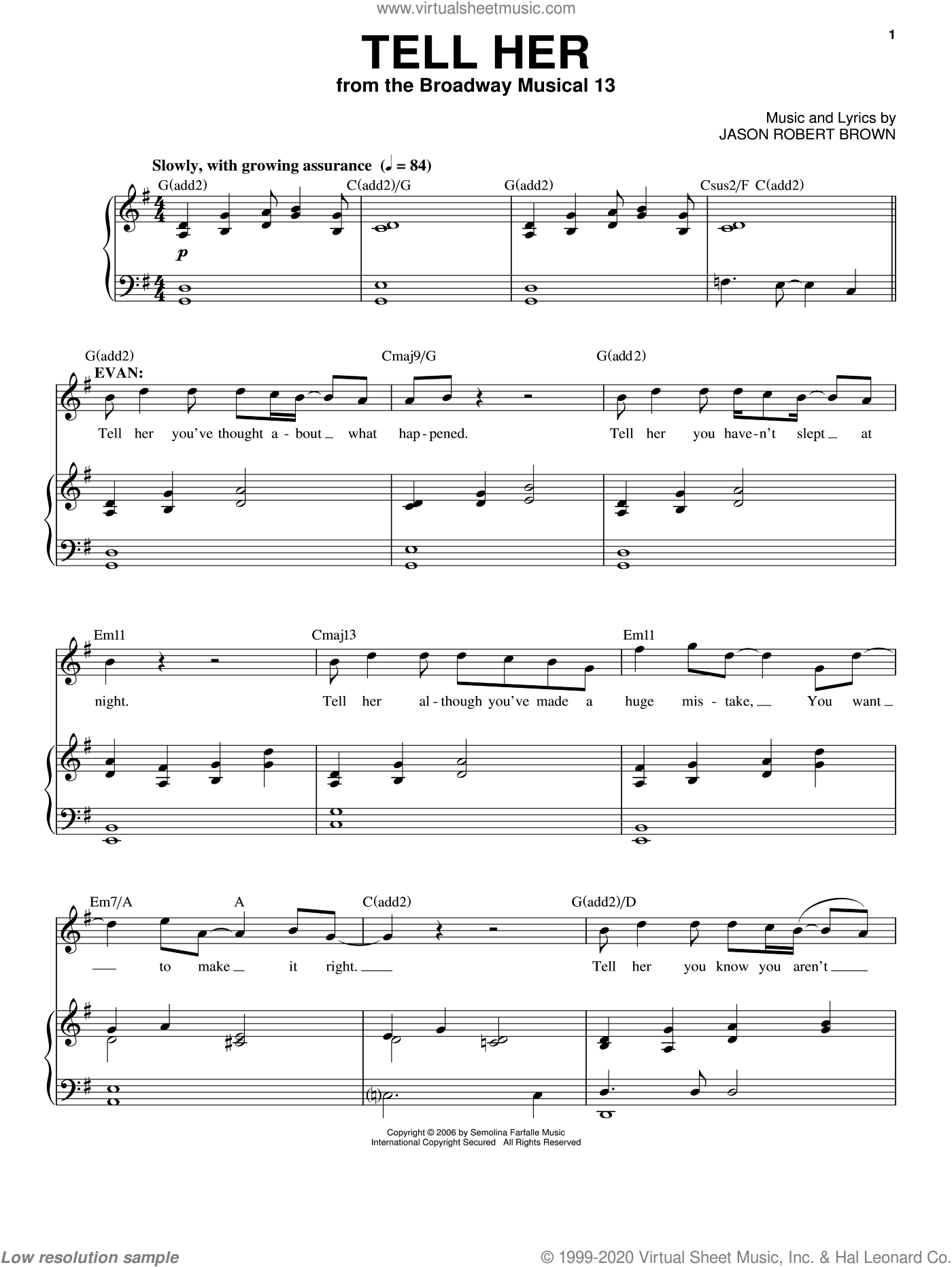 Tell Her (from 13: The Musical) sheet music for voice and piano by Jason Robert Brown and 13: The Musical, intermediate skill level