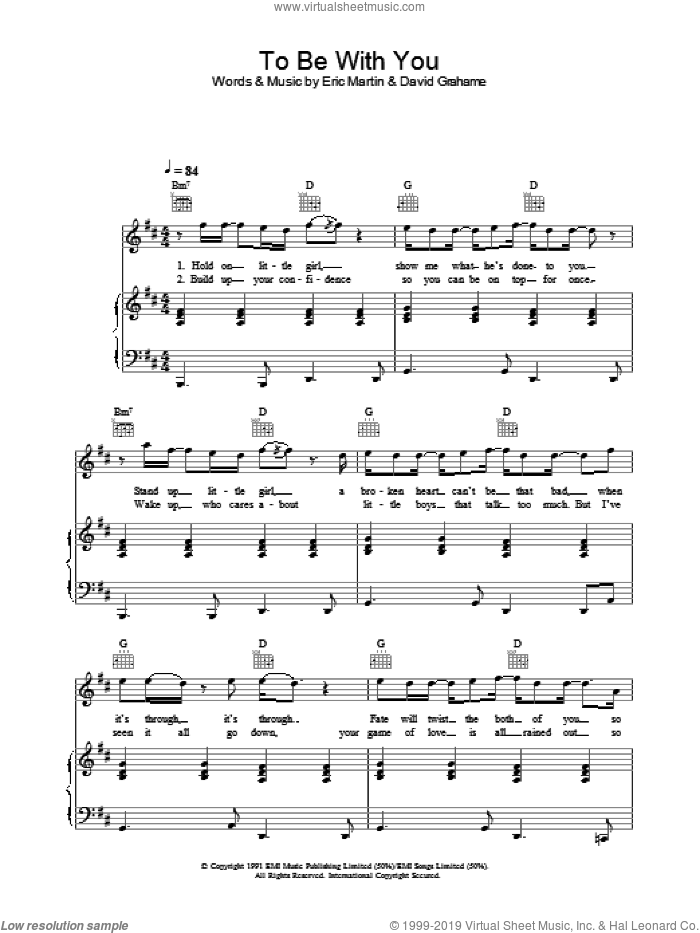 To Be With You sheet music for voice, piano or guitar by Westlife