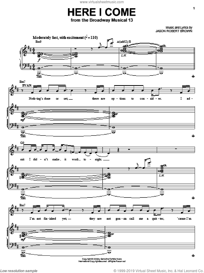 Here I Come sheet music for voice and piano by Jason Robert Brown and 13: The Musical, intermediate skill level