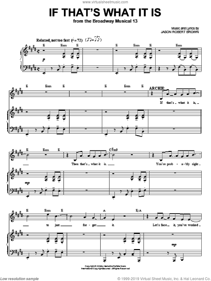 If That's What It Is (from 13: The Musical) sheet music for voice and piano by Jason Robert Brown and 13: The Musical, intermediate skill level