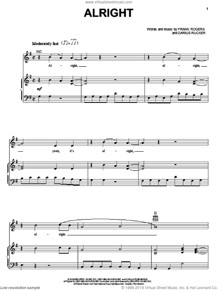 Alright sheet music for voice, piano or guitar by Frank Rogers and Darius Rucker