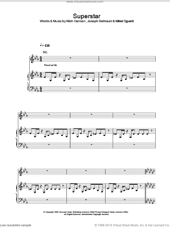 Superstar sheet music for voice, piano or guitar by Jamelia