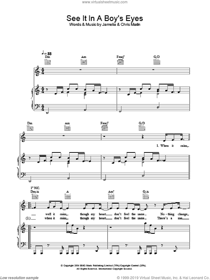 See It In A Boy's Eyes sheet music for voice, piano or guitar by Jamelia. Score Image Preview.
