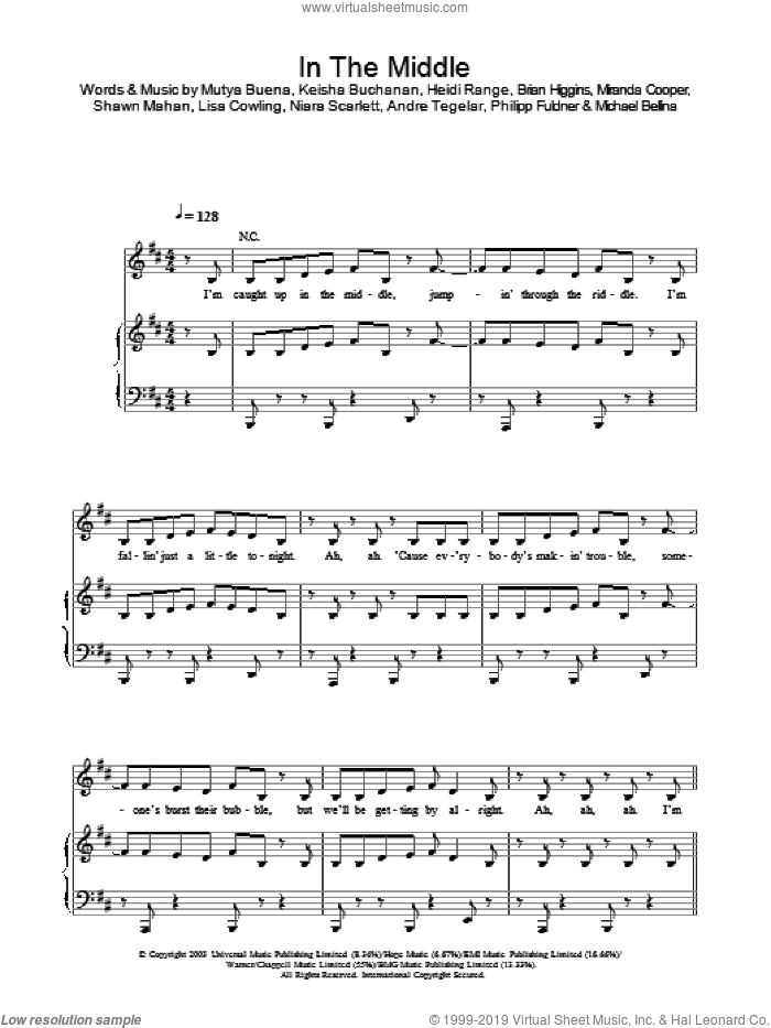 In The Middle sheet music for voice, piano or guitar by Sugababes, intermediate skill level