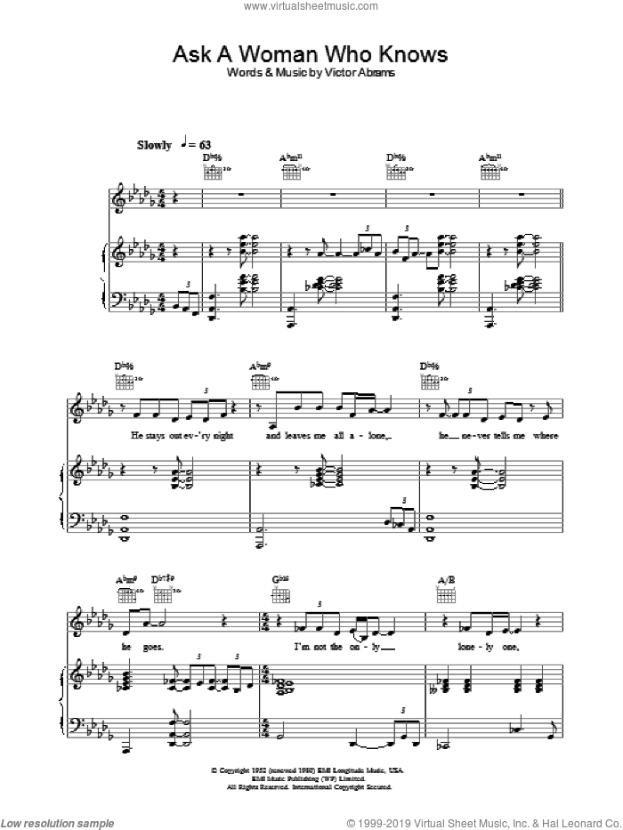Ask A Woman Who Knows sheet music for voice, piano or guitar by Natalie Cole, intermediate skill level