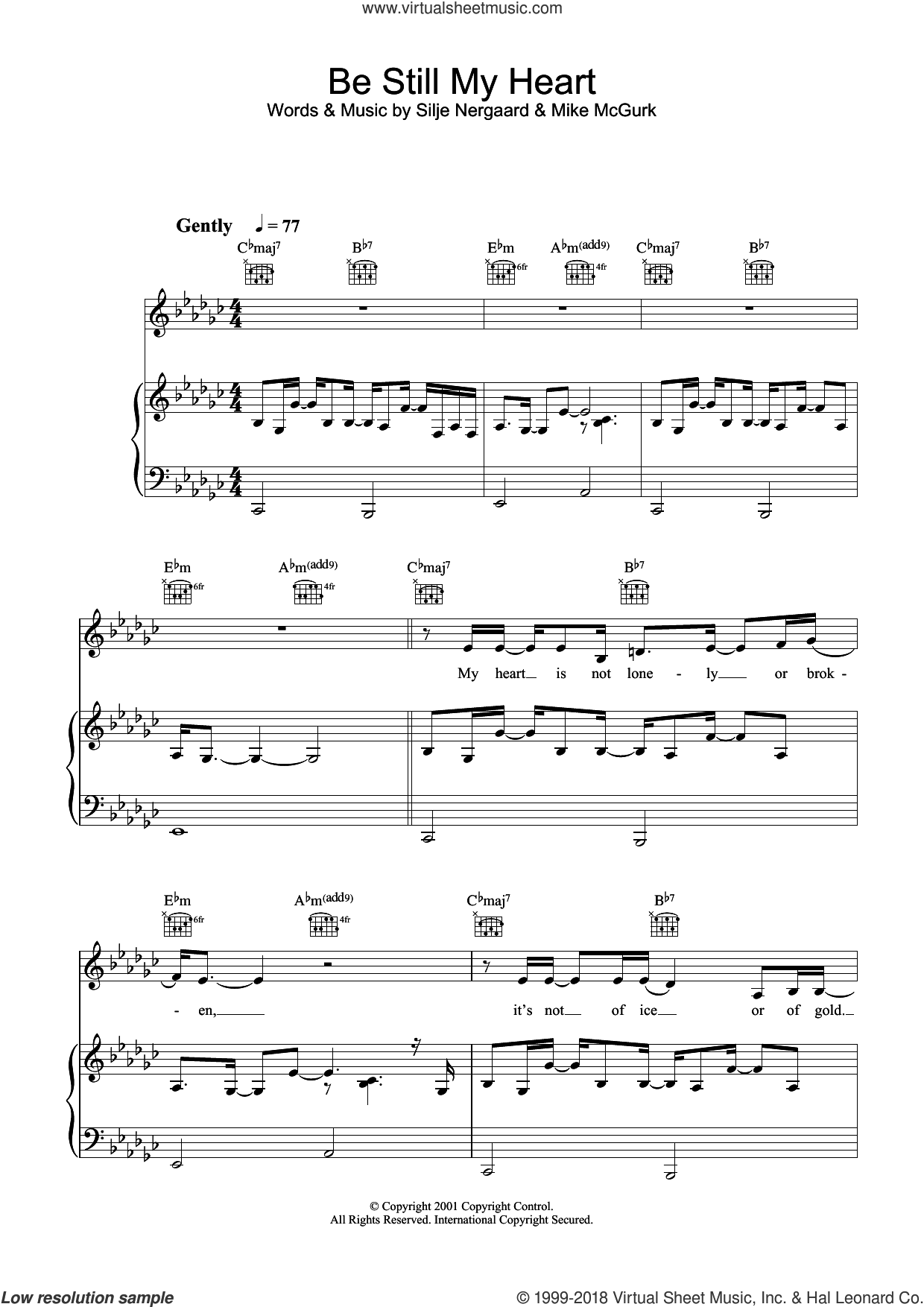 Be Still My Heart sheet music for voice, piano or guitar by Silje Nergaard and Mike McGurk, intermediate skill level