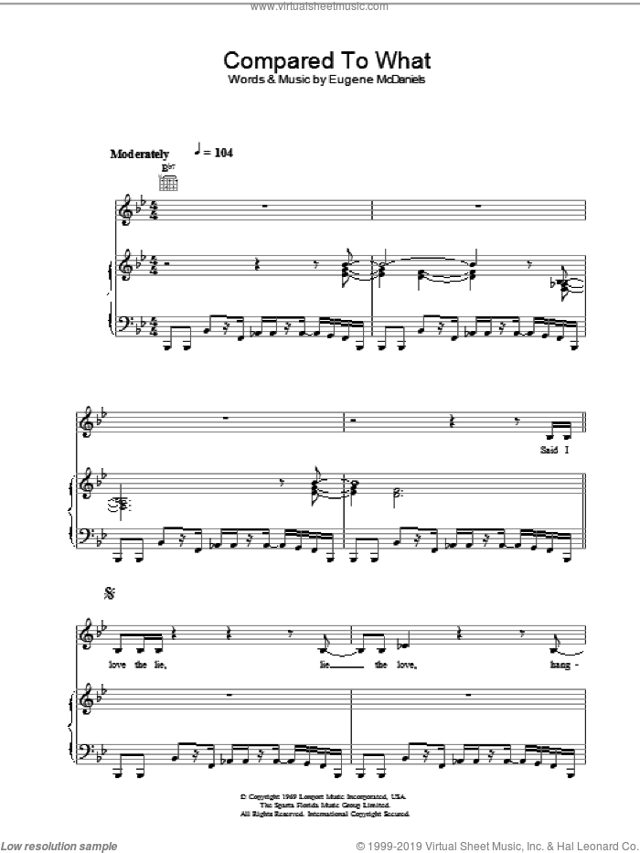 Compared To What sheet music for voice, piano or guitar by Roberta Flack. Score Image Preview.