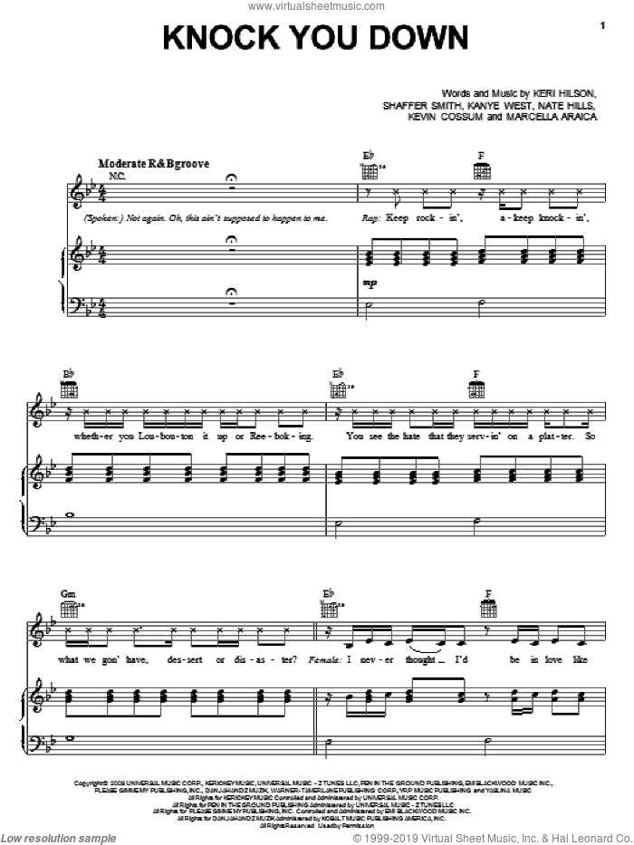 Knock You Down sheet music for voice, piano or guitar by Keri Hilson featuring Kanye West & Ne-Yo, Ne-Yo, Kanye West, Keri Hilson, Kevin Cossum, Marcella Araica, Nate Hills and Shaffer Smith, intermediate skill level
