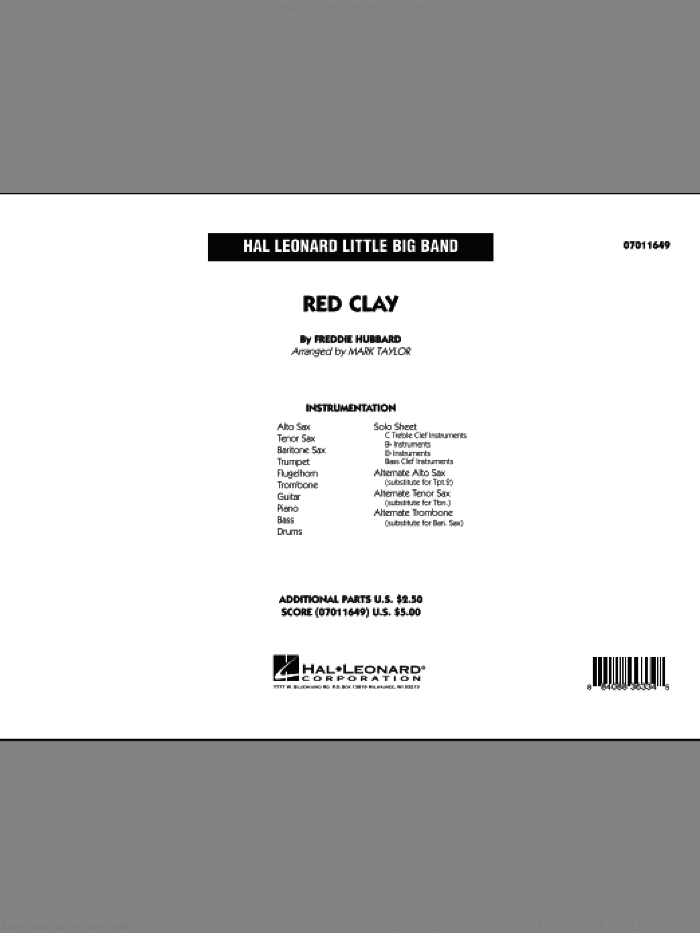 Red Clay sheet music for jazz band (full score) by Freddie Hubbard and Mark Taylor, intermediate skill level