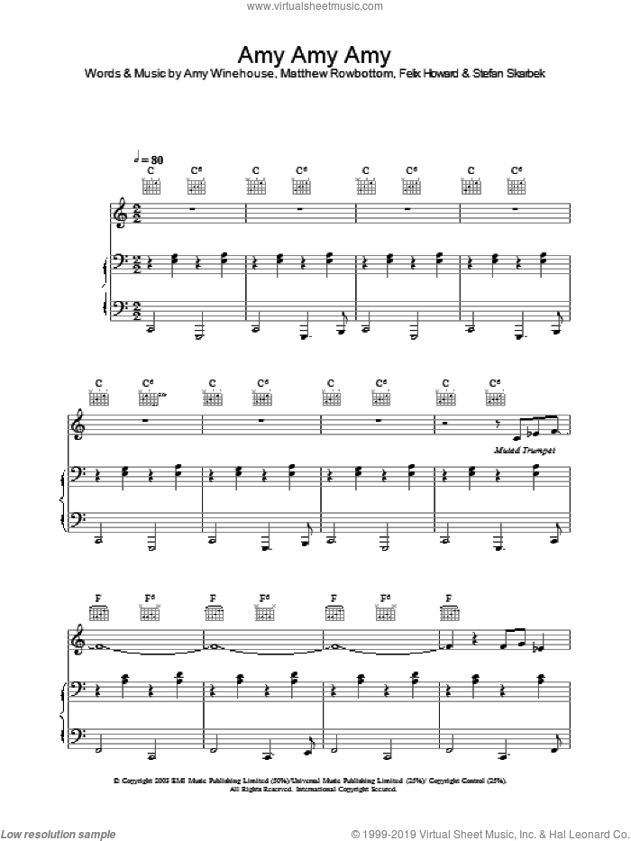 Amy Amy Amy sheet music for voice, piano or guitar by Matthew Rowbottom, Amy Winehouse and Felix Howard. Score Image Preview.