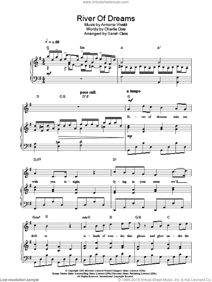 River Of Dreams sheet music for voice, piano or guitar by Hayley Westenra. Score Image Preview.