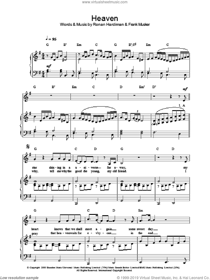 Heaven sheet music for voice, piano or guitar by Hayley Westenra, intermediate skill level