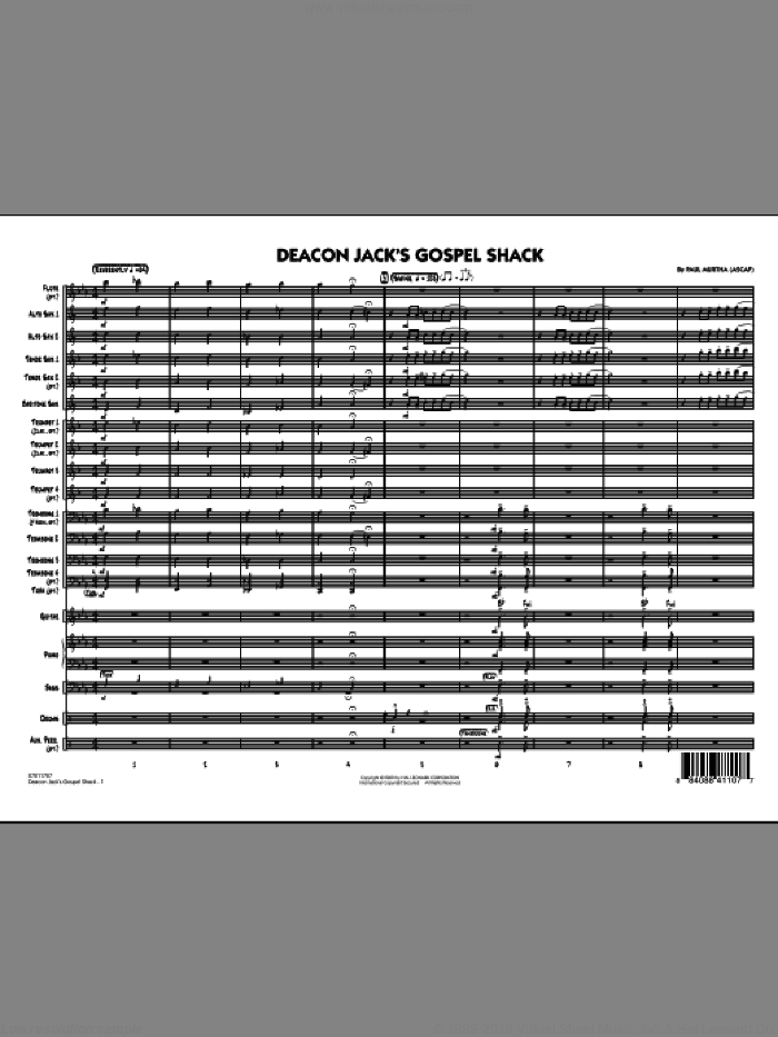 Deacon Jack's Gospel Shack (COMPLETE) sheet music for jazz band by Paul Murtha, intermediate. Score Image Preview.