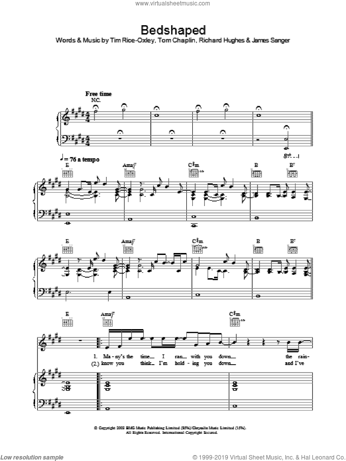 Bedshaped sheet music for voice, piano or guitar by Tim Rice-Oxley, intermediate. Score Image Preview.