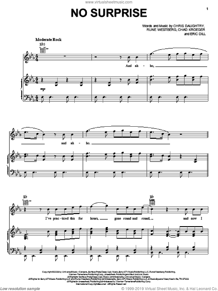 No Surprise sheet music for voice, piano or guitar by Daughtry, Chad Kroeger, Chris Daughtry, Eric Dill and Rune Westberg, intermediate skill level