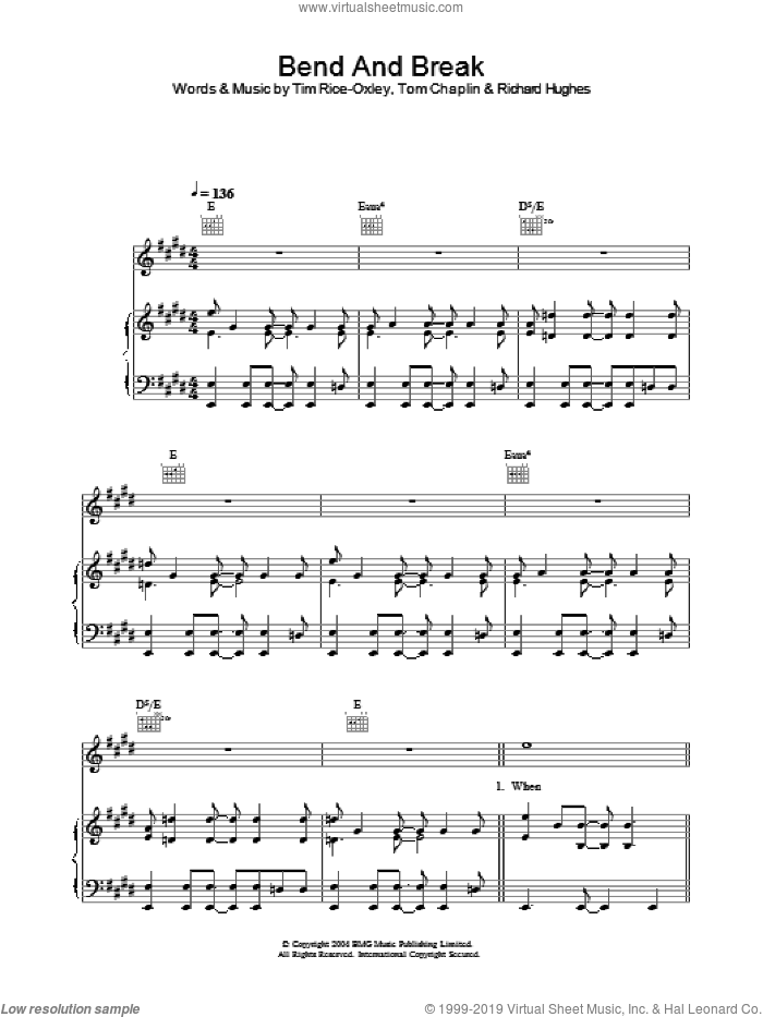 Bend And Break sheet music for voice, piano or guitar by Tim Rice-Oxley, intermediate. Score Image Preview.