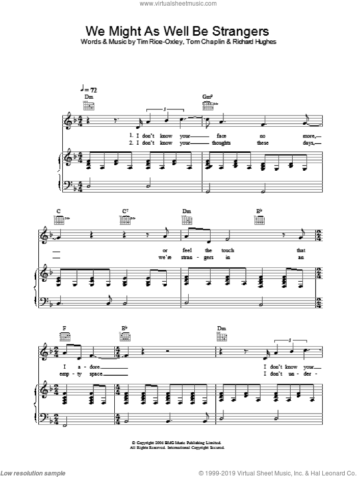We Might As Well Be Strangers sheet music for voice, piano or guitar by Tim Rice-Oxley. Score Image Preview.