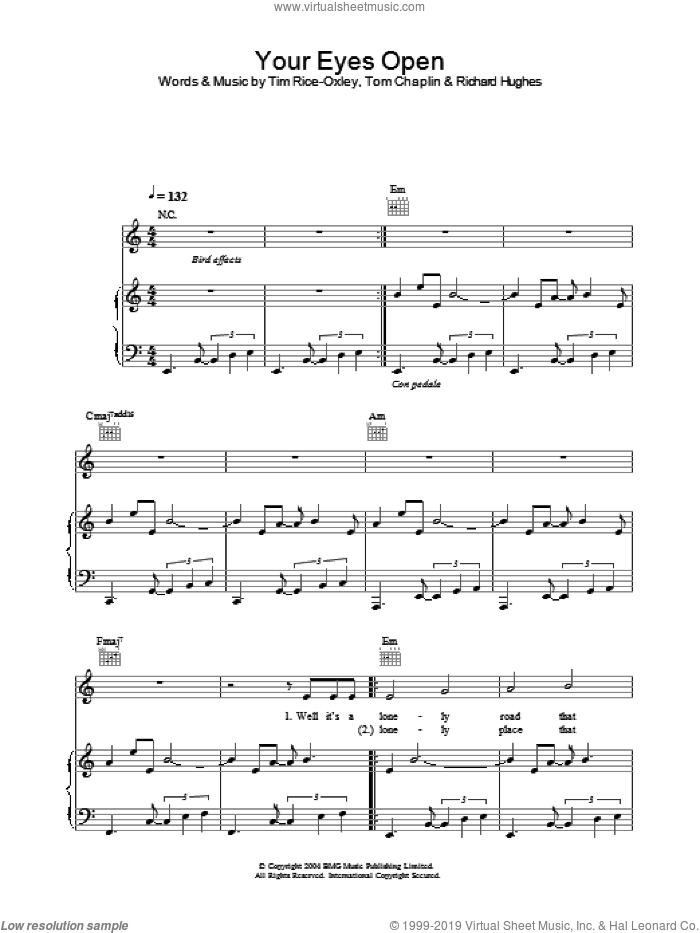 Your Eyes Open sheet music for voice, piano or guitar by Tim Rice-Oxley. Score Image Preview.