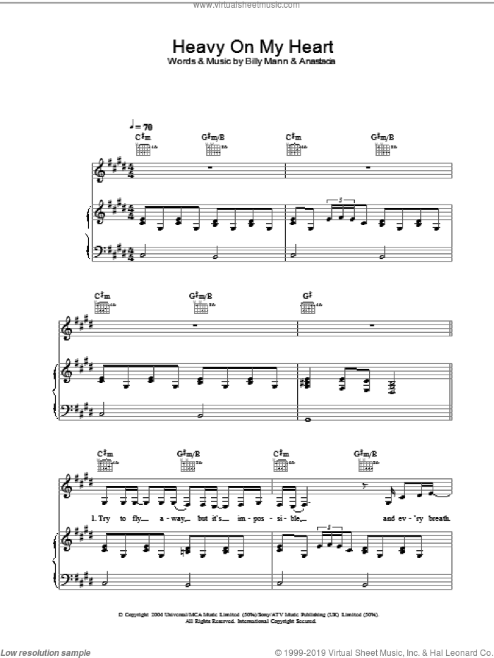 Heavy On My Heart sheet music for voice, piano or guitar by Anastacia. Score Image Preview.