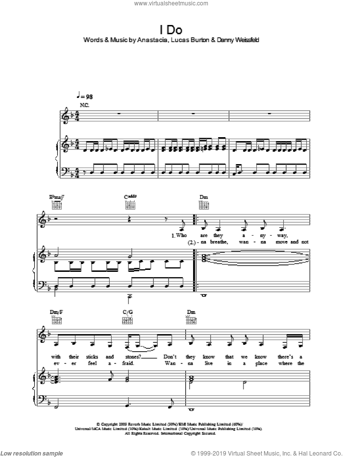 I Do sheet music for voice, piano or guitar by Anastacia