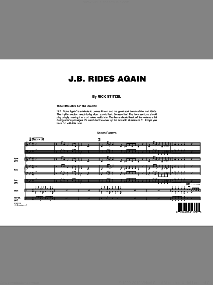 J.B. Rides Again (COMPLETE) sheet music for jazz band by Rick Stitzel, intermediate skill level