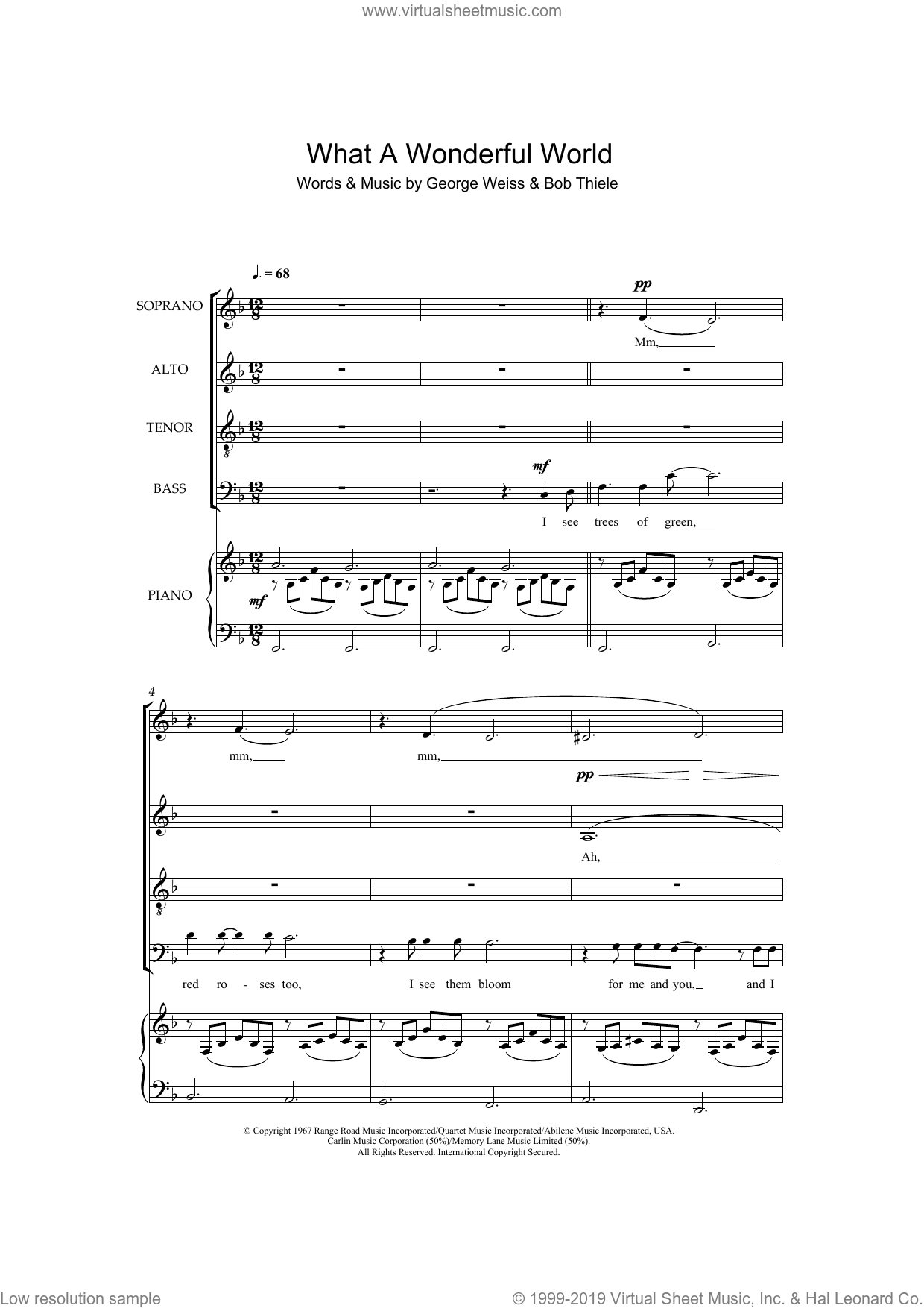 What A Wonderful World sheet music for choir (SATB: soprano, alto, tenor, bass) by Louis Armstrong, Bob Thiele and George David Weiss, intermediate skill level