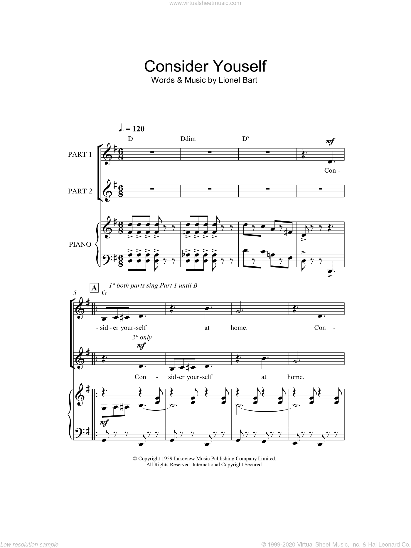 Consider Yourself (from Oliver!) (arr. Rick Hein) sheet music for choir (2-Part) by Lionel Bart and Rick Hein, intermediate duet
