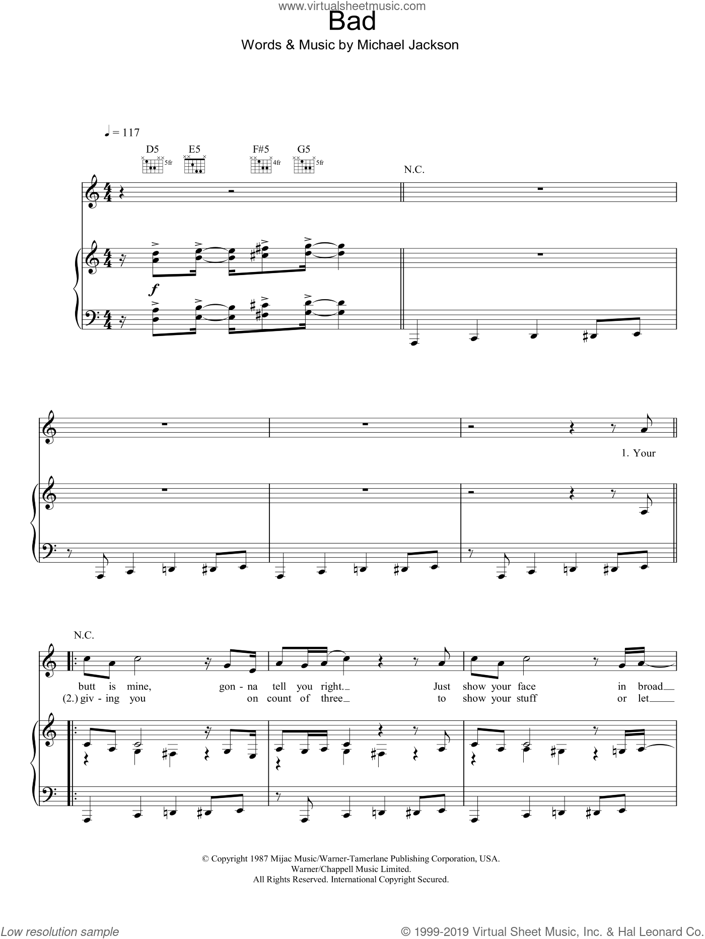Bad sheet music for voice, piano or guitar by Michael Jackson. Score Image Preview.
