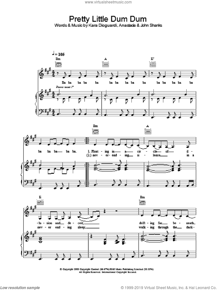 Pretty Little Dum Dum sheet music for voice, piano or guitar by Anastacia. Score Image Preview.