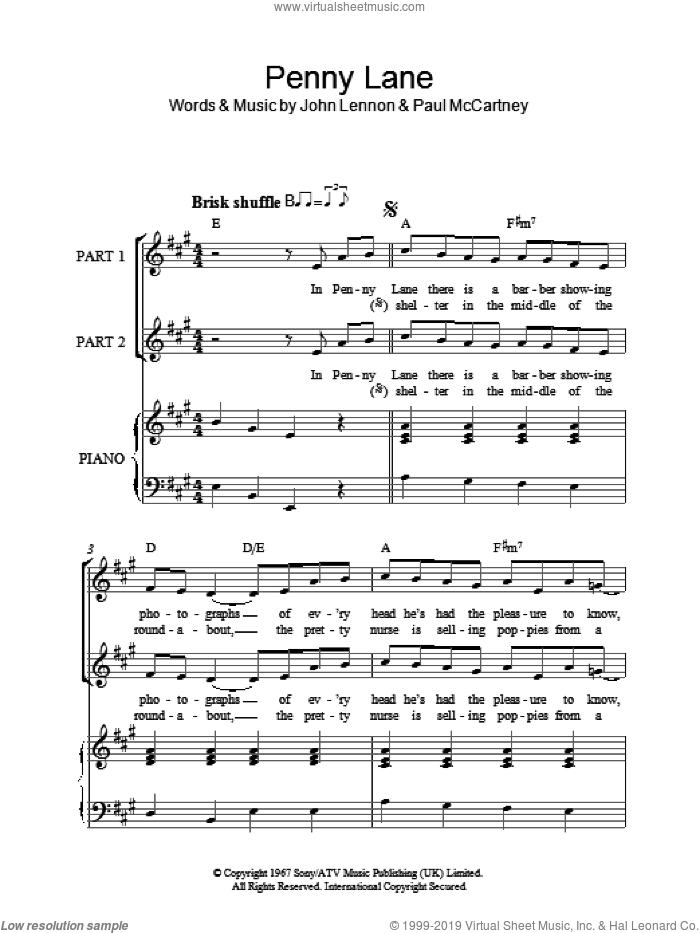 Penny Lane sheet music for choir (duets) by The Beatles, John Lennon and Paul McCartney, intermediate duet. Score Image Preview.