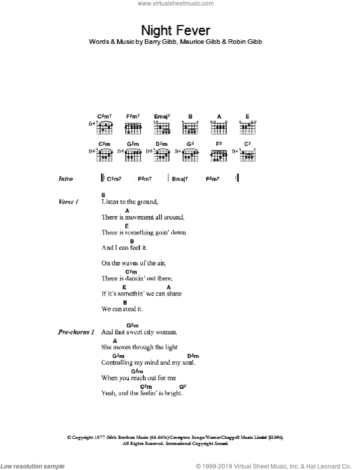 Gees Night Fever Sheet Music For Guitar Chords