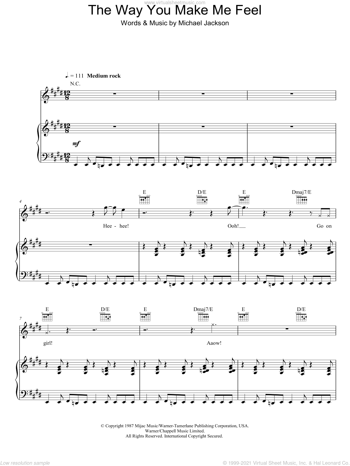 The Way You Make Me Feel sheet music for voice, piano or guitar by Michael Jackson. Score Image Preview.