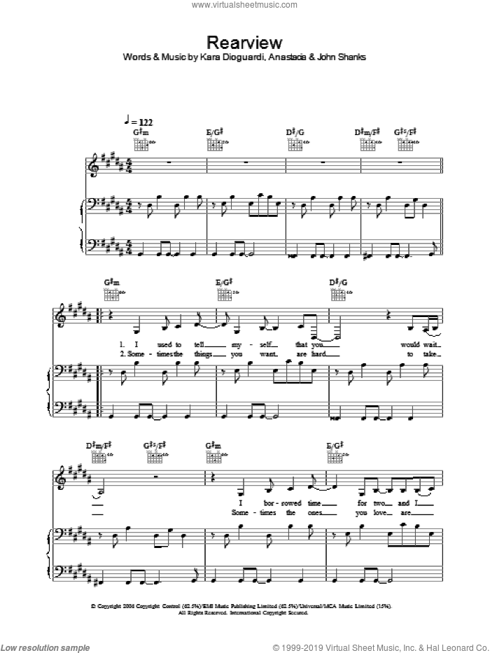 Rearview sheet music for voice, piano or guitar by Anastacia