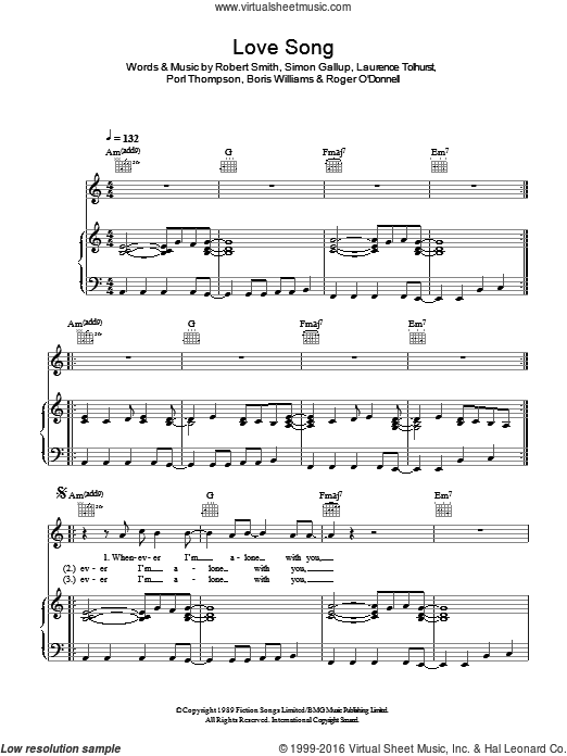 Love Song sheet music for voice, piano or guitar by Boris Williams, The Cure, Laurence Tolhurst, Robert Smith and Simon Gallup. Score Image Preview.