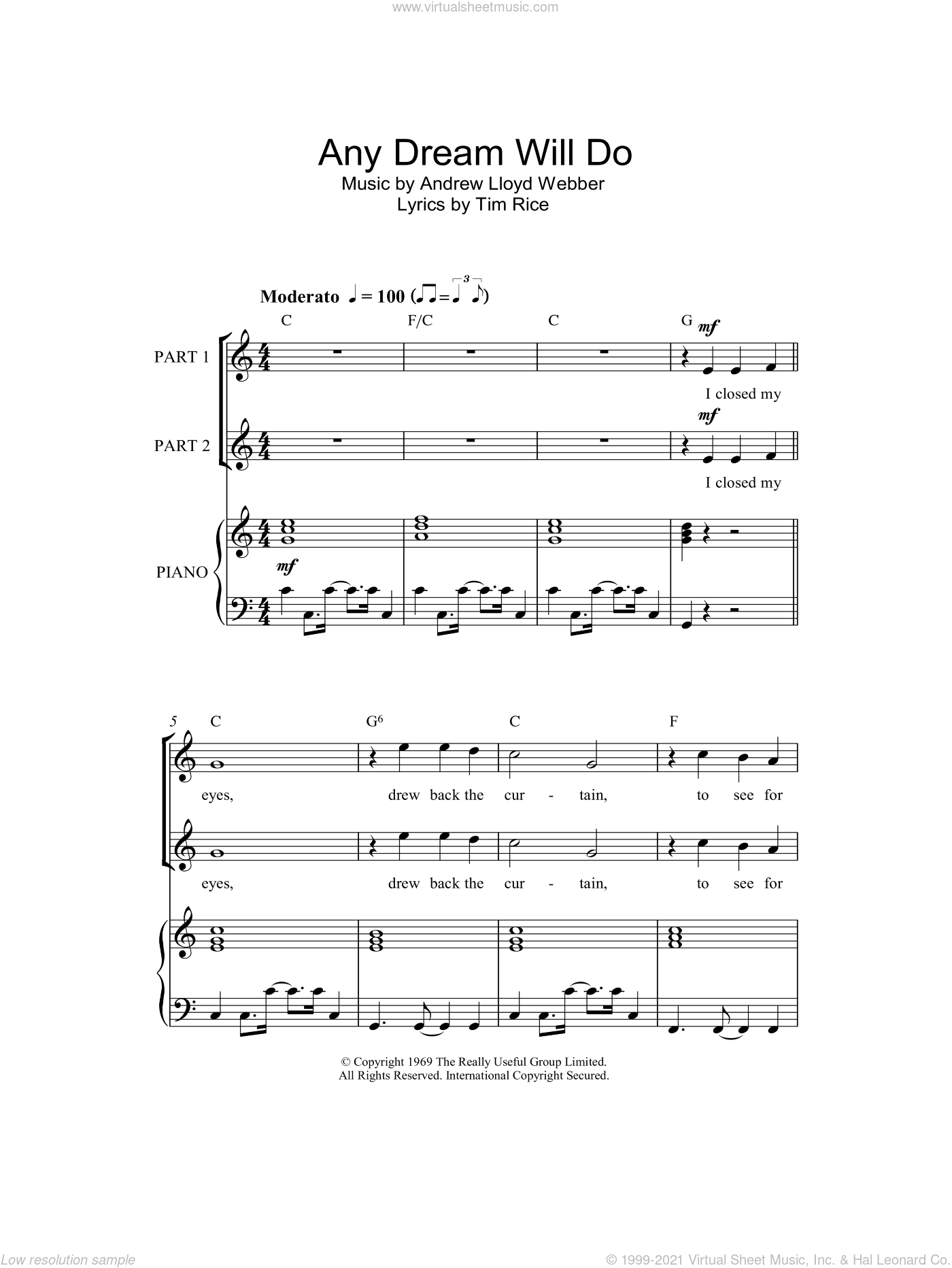Any Dream Will Do sheet music for choir (duets) by Tim Rice and Andrew Lloyd Webber. Score Image Preview.