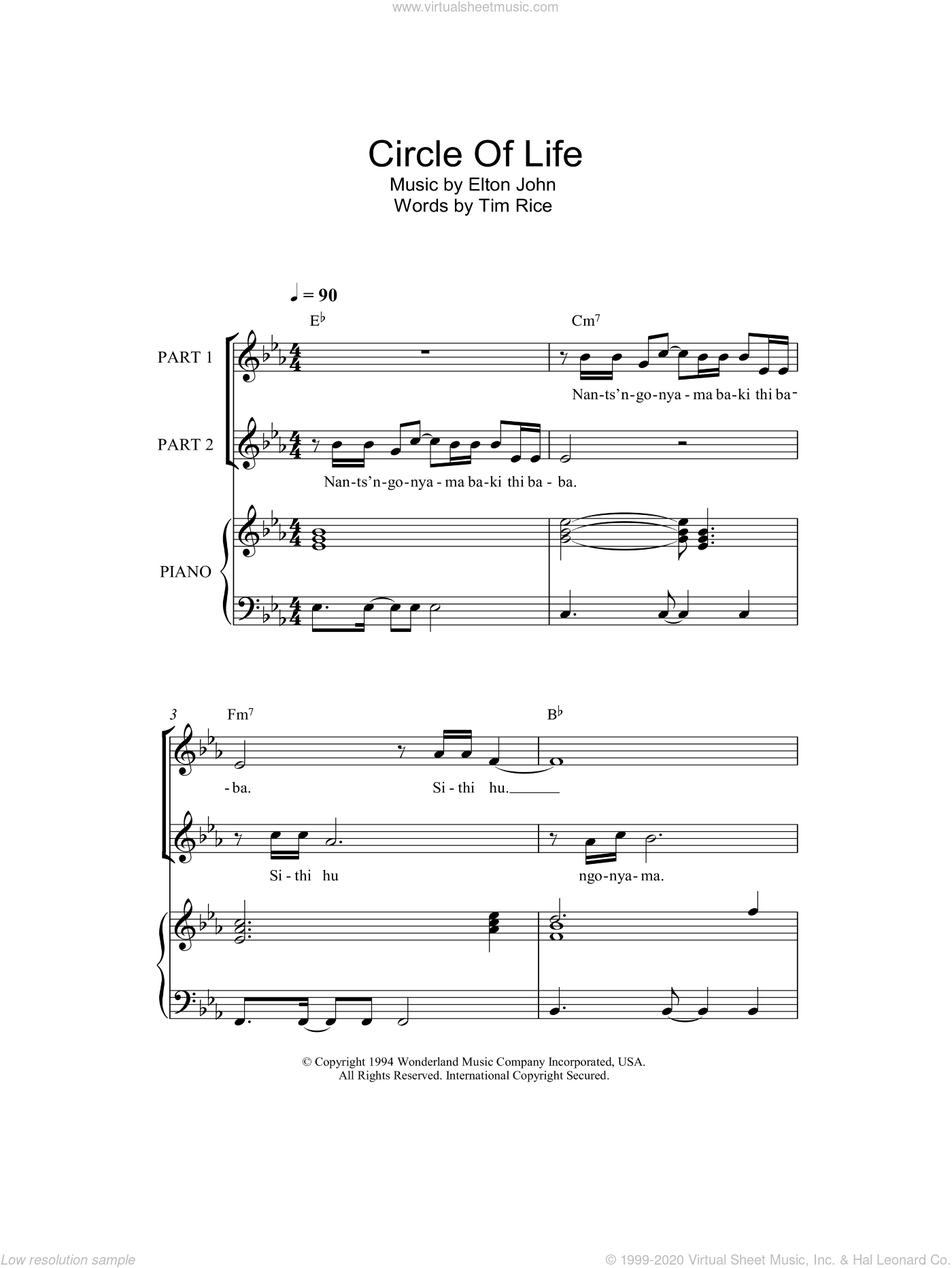Circle Of Life sheet music for choir and piano (duets) by Tim Rice and Elton John. Score Image Preview.