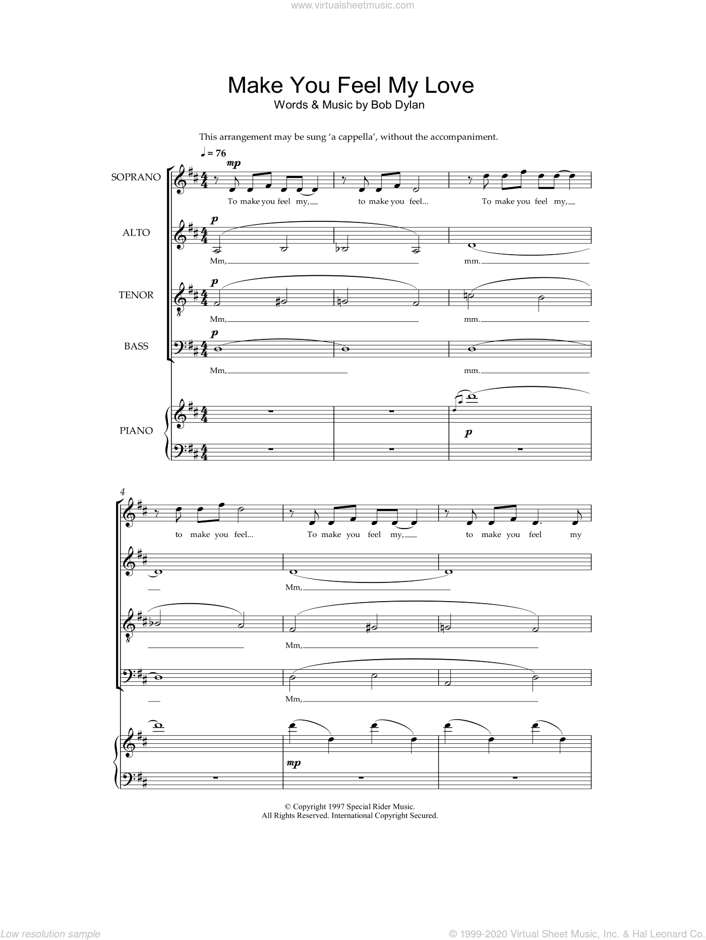 Make You Feel My Love sheet music for choir (SATB) by Bob Dylan, intermediate choir (SATB). Score Image Preview.