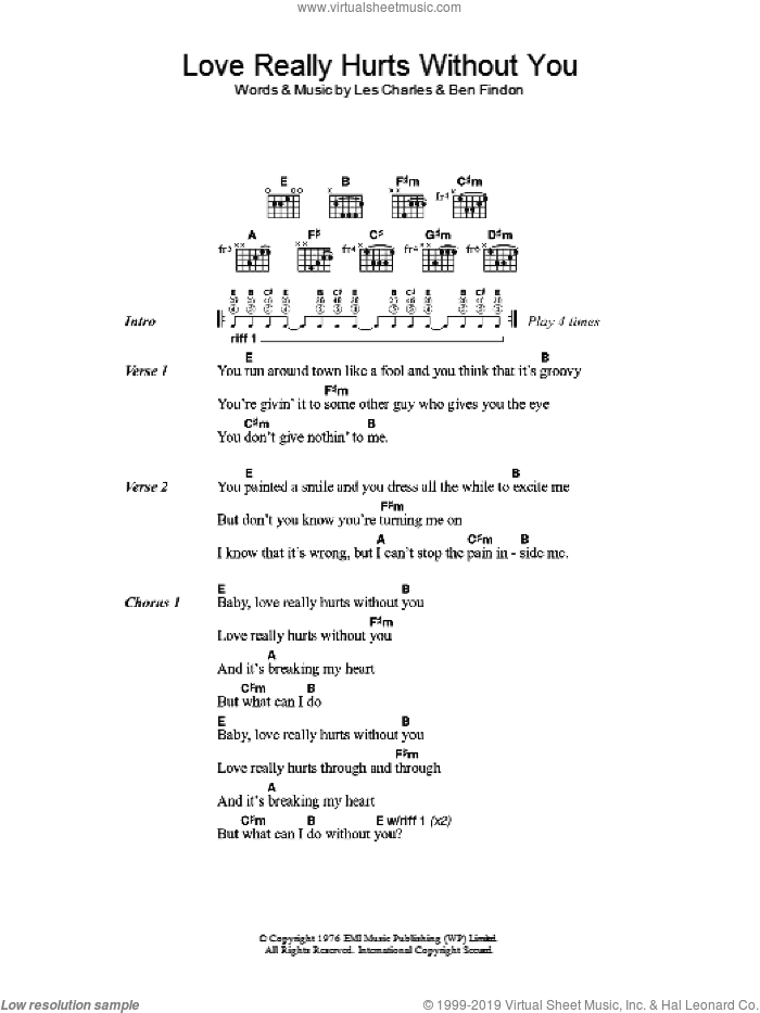 Love Really Hurts Without You sheet music for guitar (chords) by Ben Findon and Les Charles. Score Image Preview.