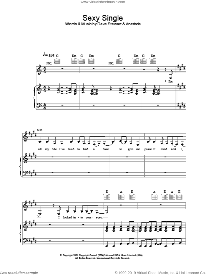 Sexy Single sheet music for voice, piano or guitar by Anastacia