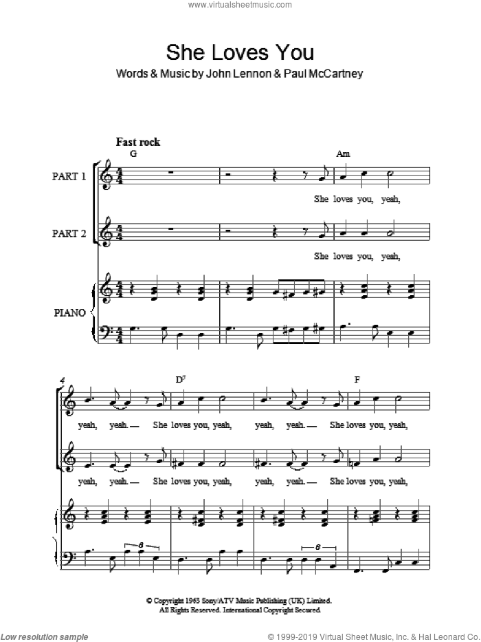 She Loves You sheet music for choir and piano (duets) by John Lennon, The Beatles and Paul McCartney. Score Image Preview.