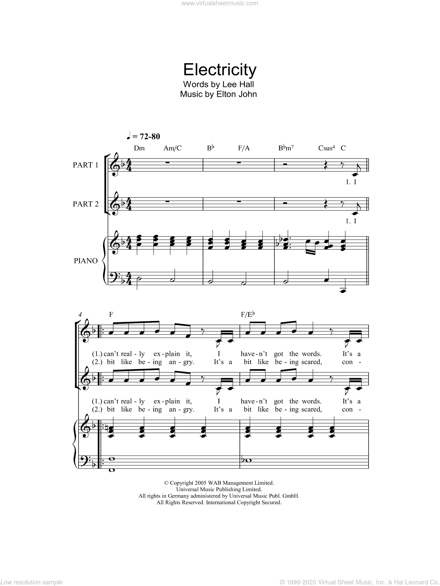 Electricity sheet music for choir (duets) by Lee Hall and Elton John. Score Image Preview.