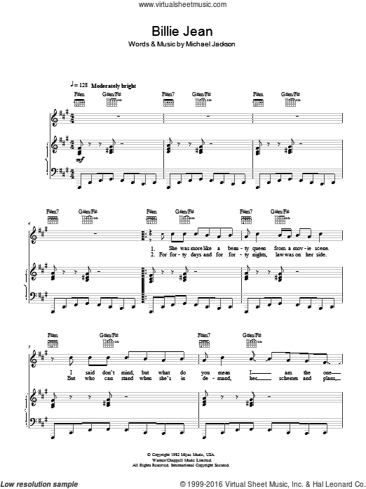 Billie Jean sheet music for voice, piano or guitar by Michael Jackson. Score Image Preview.