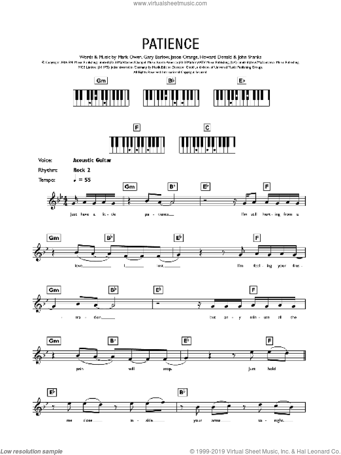 Patience sheet music for piano solo (chords, lyrics, melody) by Mark Owen, Take That, Gary Barlow and John Shanks. Score Image Preview.