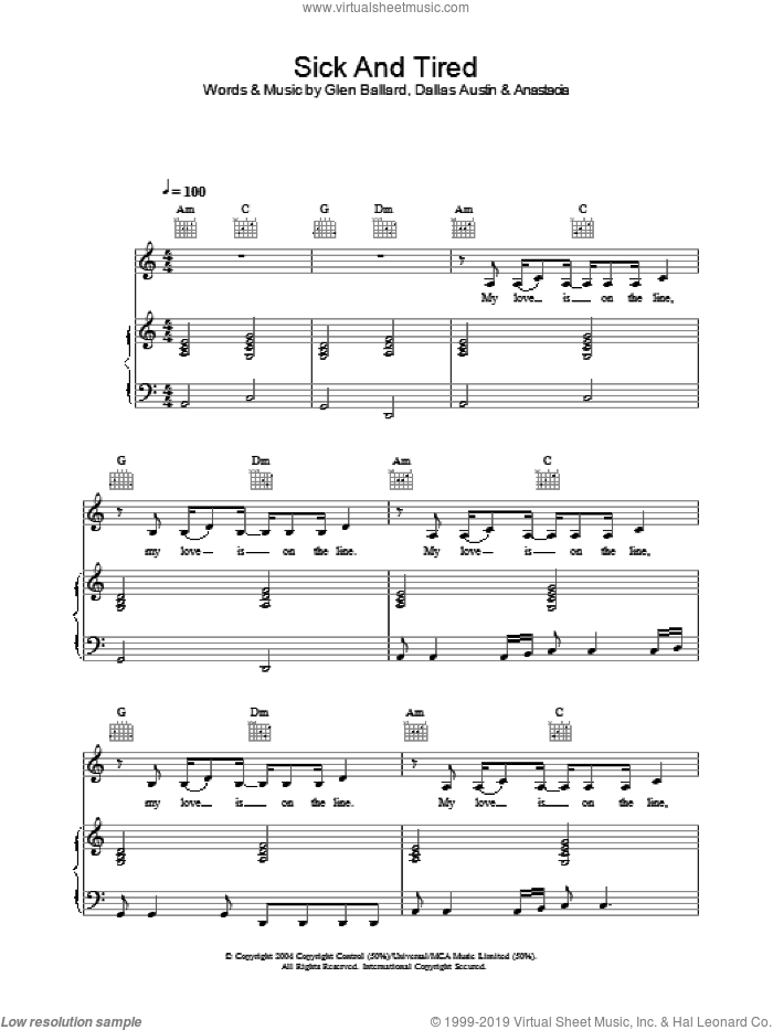 Sick And Tired sheet music for voice, piano or guitar by Anastacia