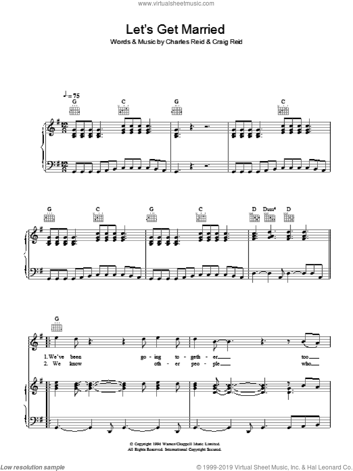 Let's Get Married sheet music for voice, piano or guitar by Charles Reid and Craig Reid. Score Image Preview.